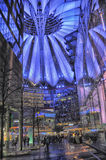 Sony-Center in Berlin. Futuristic Roof of the Sony Center in Berlin illuminated at Night royalty free stock images