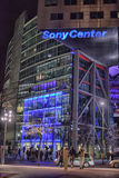 Sony-Center in Berlin. Futuristic Roof of the Sony Center in Berlin illuminated at Night Stock Photos