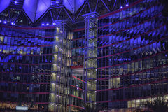 Sony-Center in Berlin. Futuristic Roof of the Sony Center in Berlin illuminated at Night stock photo