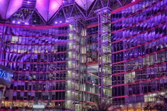 Sony-Center in Berlin. Futuristic Roof of the Sony Center in Berlin illuminated at Night Royalty Free Stock Image