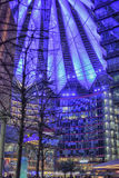 Sony-Center in Berlin. Futuristic Roof of the Sony Center in Berlin illuminated at Night royalty free stock photography