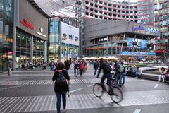 Sony Center, Berlin. BERLIN, GERMANY - AUGUST 26, 2014: People visit Sony Center in Berlin. The modern complex was completed in 2000 and is Sony European Royalty Free Stock Photos