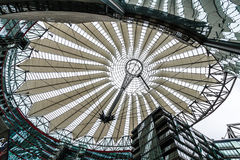 The Sony Center in Berlin. Berlin, Germany - July 31, 2011: The Sony Center dome at the Potzdamer Platz in Berlin, Germany. The center was constructed after the Royalty Free Stock Images