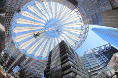 Sony Center. BERLIN, GERMANY - MAY 15: The Sony Center ceiling in a low angle fish eye view on May 15, 2013 in Berlin, Germany. The Sony Center is a Sony Royalty Free Stock Image