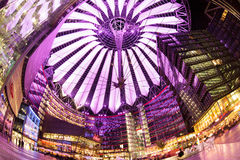 Sony Center, Berlin. Berlin, Germany - May 10 2013: The modern colorful glass roof of Sony center in Berlin at night time Royalty Free Stock Photography