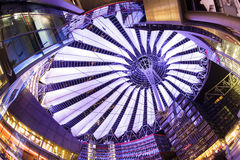 Sony Center, Berlin. Berlin, Germany - May 10 2013: The modern colorful glass roof of Sony center in Berlin at night time royalty free stock photo