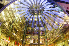 Sony Center, Berlin. Berlin, Germany - May 10 2013: The modern colorful glass roof of Sony center in Berlin at night time Stock Photo