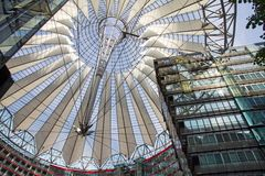 Sony Center, Berlin, Germany. BERLIN - SEPTEMBER 22, 2013: Sony Center complex and roof located at Potsdamer Platz. Sony Center contains mix of shops Stock Image