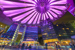 Sony Center of Berlin. BERLIN, GERMANY - SEPTEMBER 20, 2013: Sony Center at night. The center is a public space located in the Potsdamer Platz financial district Stock Image