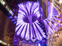 Sony Center Berlin. BERLIN - JANUARY 1 2016: Potsdamer platz, Sony Center with the futuristic roof top stock image