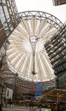 Sony Center Berlin. BERLIN - JANUARY 2, 2016: Potsdamer platz, Sony Center with the futuristic roof top and a big Christmas tree in a day stock image