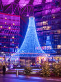 Sony Center Berlin. BERLIN - JANUARY 1 2016: Potsdamer platz, Sony Center with the futuristic roof top and a Christmas decoration stock photos