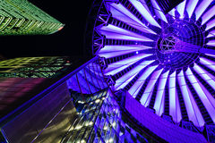 Sony Center in Berlin at night. View upwards to the skyscraper of the Deutsche Bahn and the futuristic roof of the Sony Center in Berlin, Deutschland, at night Stock Images
