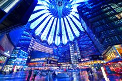 Sony Center. BERLIN - SEPTEMBER 20: Sony Center September 20, 2013 in Berlin, Germany. The center is a public space located in the Potsdamer Platz financial Stock Image