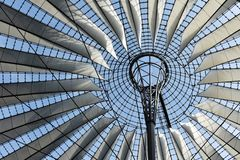 Sony Center ceiling. Berlin Sony Center building, modern ceiling structure seeing from below royalty free stock photography