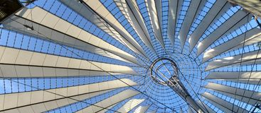 Sony Center panorama. Panorama of the ceiling of the Sony Center, in Berlin, Germany stock photo