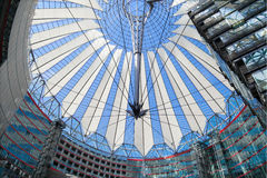 Sony Center. In Potsdamer Platz, Berlin, Germany. It is a building complex, designed by Helmut Jahn and Peter Walker and sponsored by Sony, opened in 2000 year Stock Photos
