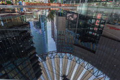 Sony Center Potsdamer Platz Berlin Germany. The modern sky ceiling reflected on the water pool inside Sony Center in Postdamer Platz, Berlin, Germany royalty free stock photography