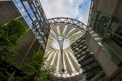 Sony Center at Potsdamer Platz in Berlin, germany. Underside view on sail roof structure inside Sony Center at Potsdamer Platz, Berlin, Germany stock photography