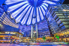 Sony Center at Potsdamer Platz at night, Berlin, Germany. BERLIN - JULY 12: Famous Sony Center at Potsdamer Platz illuminated at night on July 24, 2015 in Berlin Stock Photo