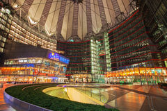 Sony Center on Potsdamer Platz at night. GERMANY, BERLIN - January 24, 2015 : Sony Center on The Potsdamer Platz at night. Potsdamer platz, destroyed during Royalty Free Stock Image