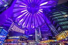 Sony Center. September 20, 2013 in Berlin, Germany. The center is a public space located in the Potsdamer Platz financial district Royalty Free Stock Photos