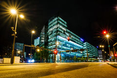 Sony centre at night. Postdamer platz, Berlin - Germany. BERLIN, GERMANY - APRIL 6: Modern building in Sony centre at night in Berlin on April 6, 2017 in Berlin royalty free stock photos