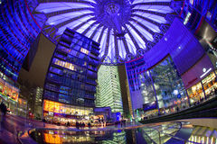 Sony centre at night. Potadmer platz, Berlin - Germany. BERLIN, GERMANY - APRIL 6: Sony centre at night in Potsdamer platz in Berlin on April 6, 2017 in Berlin stock photos