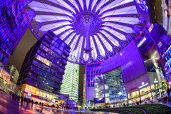 Sony centre at night. Potadmer platz, Berlin - Germany. BERLIN, GERMANY - APRIL 6: Sony centre at night in Potsdamer platz in Berlin on April 6, 2017 in Berlin stock photo