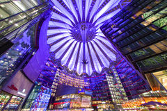 Sony centre at night. Potadmer platz, Berlin - Germany. BERLIN, GERMANY - APRIL 6: Sony centre at night in Potsdamer platz in Berlin on April 6, 2017 in Berlin royalty free stock image