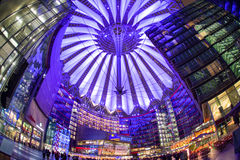 Sony centre at night. Potadmer platz, Berlin - Germany. BERLIN, GERMANY - APRIL 6: Sony centre at night in Potsdamer platz in Berlin on April 6, 2017 in Berlin stock photography