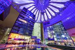 Sony centre at night. Potadmer platz, Berlin - Germany. BERLIN, GERMANY - APRIL 6: Sony centre at night in Potsdamer platz in Berlin on April 6, 2017 in Berlin royalty free stock photography
