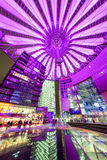 Sony centre at night. Potsadmer platz, Berlin - Germany. BERLIN, GERMANY - APRIL 6: Sony centre at night in Potsdamer platz in Berlin on April 6, 2017 in Berlin royalty free stock photography