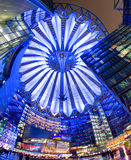 Sony centre at night. Potsdamer platz, Berlin - Germany. BERLIN, GERMANY - APRIL 6: Sony centre at night in Potsdamer platz in Berlin on April 6, 2017 in Berlin stock photos
