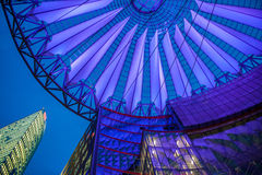 Sony Centre, Potsdamer Platz in Berlin, Germany. Purple and blue roof at sony Centre, Potsdamer Platz, Germany stock image