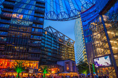 Sony Centre, Potsdamer Platz in Berlin, Germany. Purple and blue roof at sony Centre, Potsdamer Platz, Germany Royalty Free Stock Photography
