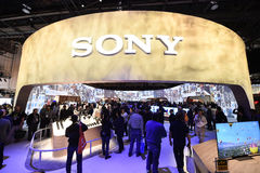 SONY at CES 2016. General view of attendees at the SONY stand at the 2016 International Consumer Electronics Show at the Las Vegas Convention Center January 6 royalty free stock photo
