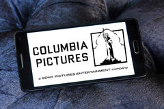 Sony columbia pictures logo. Logo of the american sony columbia pictures on samsung mobile phone Stock Photo