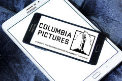 Sony columbia pictures logo. Logo of the american sony columbia pictures on samsung mobile phone on samsung tablet Stock Photos