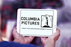 Sony columbia pictures logo. Logo of the american sony columbia pictures on samsung tablet Stock Images