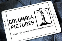 Sony columbia pictures logo. Logo of the american sony columbia pictures on samsung tablet stock photo