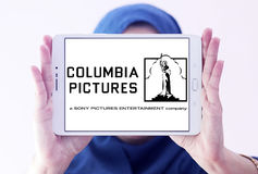Sony columbia pictures logo. Logo of the american sony columbia pictures on samsung tablet holded by arab muslim woman Stock Photos