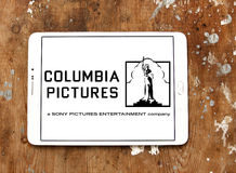 Sony columbia pictures logo. Logo of the american sony columbia pictures on samsung tablet on wooden background Stock Photo
