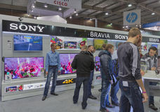 Sony company booth at CEE 2015, the largest electronics trade show in Ukraine Stock Images