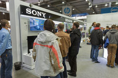 Sony company booth at CEE 2015, the largest electronics trade show in Ukraine Royalty Free Stock Photo