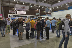 Sony company booth at CEE 2015, the largest electronics trade show in Ukraine Stock Image