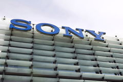 Sony company logo on headquarters building. PRAGUE, CZECH REPUBLIC - MAY 22: Sony company logo on headquarters building on May 17, 2017 in Prague, Czech republic Royalty Free Stock Photo