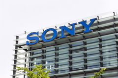 Sony company logo on headquarters building. PRAGUE, CZECH REPUBLIC - MAY 22: Sony company logo on headquarters building on May 17, 2017 in Prague, Czech republic Royalty Free Stock Photos