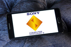 Sony computer entertainment logo. Logo of game developer company sony computer entertainment on samsung mobile phone a5 Royalty Free Stock Images