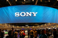 Sony Convention Booth at CES. Sony corporation massive convention booth at the Consumer Electronics show in Las Vegas in 2014 stock image